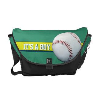 Es una bolsa de pañales verde adaptable del béisbo bolsa de mensajeria