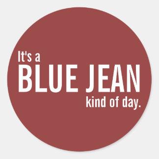 Es una clase azul de Jean de pegatinas casuales Pegatinas Redondas