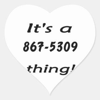 es una cosa 867-5309 pegatina en forma de corazón