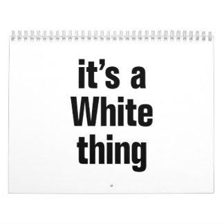 es una cosa blanca calendario de pared