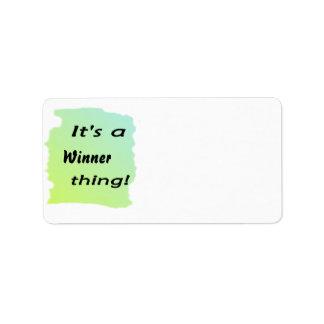 ¡Es una cosa del ganador! Etiqueta De Dirección