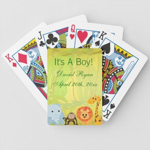 Es una fiesta de bienvenida al bebé de la selva barajas de cartas