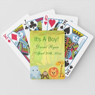 Es una fiesta de bienvenida al bebé de la selva cartas de juego