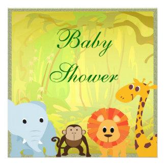Es una fiesta de bienvenida al bebé de la selva comunicados personalizados