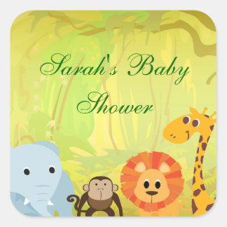 Es una fiesta de bienvenida al bebé de la selva calcomanía cuadradas