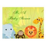 Es una fiesta de bienvenida al bebé de la selva tarjetas postales