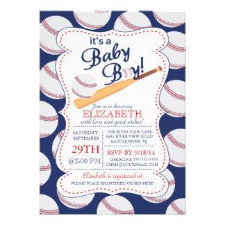 Es una fiesta de bienvenida al bebé del béisbol de invitacion personal