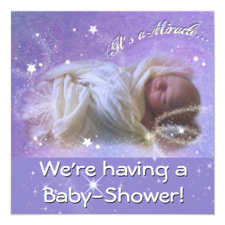 Es una fiesta de bienvenida al bebé del milagro invitación 13,3 cm x 13,3cm