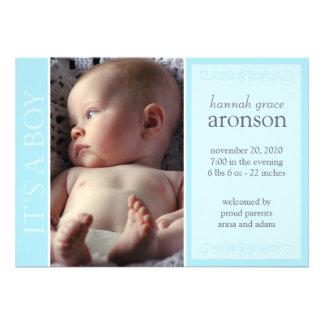 Es una invitación del bebé del muchacho el azul t