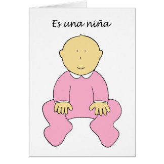 Es una niña, spanish, it's a girl. card