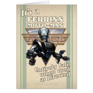 Es una tarjeta de felicitación del Moto-Man de Fer