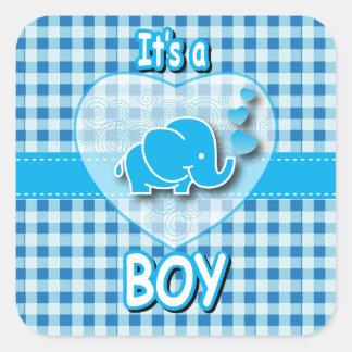 Es una tela escocesa del muchacho, azul y blanca pegatina cuadrada