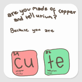 Es usted hizo del cobre y del helio pegatina cuadrada