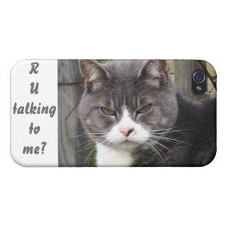 """""""Es usted que habla conmigo?"""" gato iPhone 4 Fundas"""