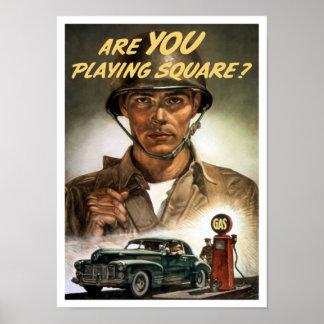 Es usted que juega el cuadrado -- Segunda Guerra Póster
