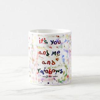 es usted y yo y arco iris tazas de café