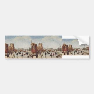 Esaias van de Velde: Ice on the moat entertainment Bumper Sticker