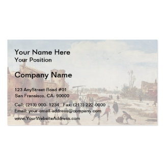 Esaias van de Velde: Ice on the moat entertainment Double-Sided Standard Business Cards (Pack Of 100)