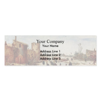 Esaias van de Velde: Ice on the moat entertainment Double-Sided Mini Business Cards (Pack Of 20)