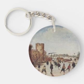 Esaias van de Velde: Ice on the moat entertainment Single-Sided Round Acrylic Keychain