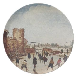 Esaias van de Velde: Ice on the moat entertainment Plates