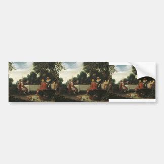Esaias van de Velde- Party in the Garden Bumper Sticker