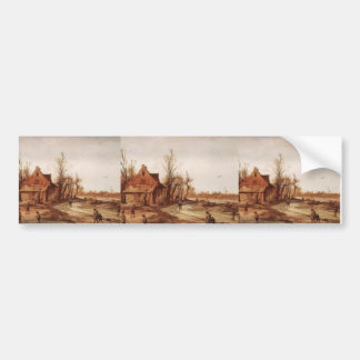 Esaias van de Velde- Winter Landscape Bumper Sticker