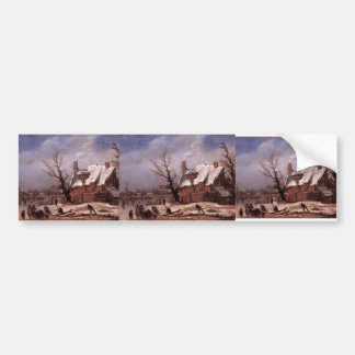 Esaias van de Velde- Winter Landscape Bumper Stickers
