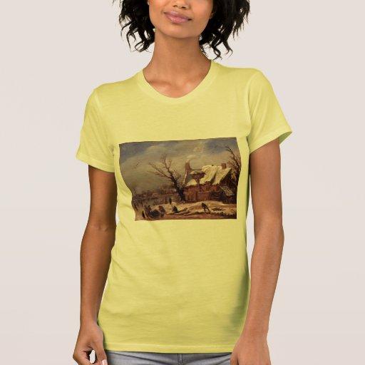 Esaias van de Velde- Winter Landscape T Shirt