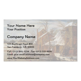 Esaias van de Velde- Winter scene with skaters Business Card Template