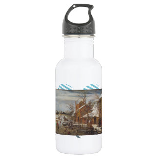 Esaias van de Velde- Winter scene with skaters 18oz Water Bottle