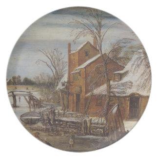 Esaias van de Velde- Winter scene with skaters Plate