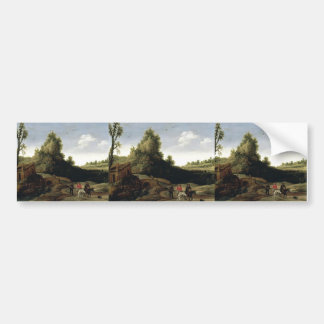 Esaias Velde- A landscape with travellers Bumper Sticker