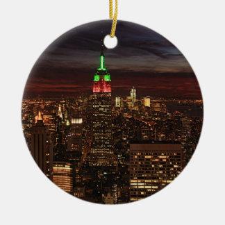 ESB, Navidad verde roja del damasco #3 de la Adorno Redondo De Cerámica