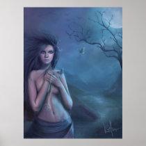 faery, fantasy, digital, art, moon, esbat, wicca, Cartaz/impressão com design gráfico personalizado