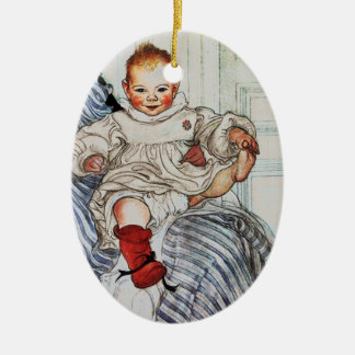 Esbjorn as Baby Pulling His Sock Double-Sided Oval Ceramic Christmas Ornament