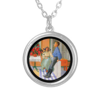 Esbjorn Brother and Sister in Sunroom Round Pendant Necklace