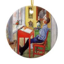 Esbjorn Doing His Homework by Carl Larsson Ceramic Ornament