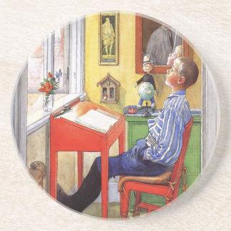 Esbjorn Doing His Homework by Carl Larsson Drink Coaster