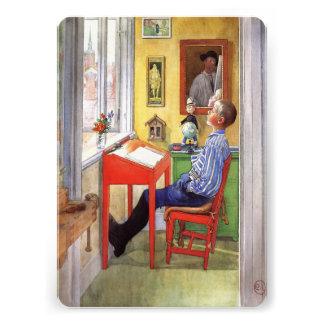 Esbjorn Doing His Homework by Carl Larsson Custom Invitations