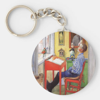 Esbjorn Doing His Homework by Carl Larsson Keychain