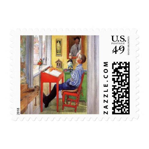 Esbjorn Doing His Homework by Carl Larsson Postage Stamp