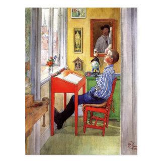 Esbjorn Doing His Homework by Carl Larsson Postcard