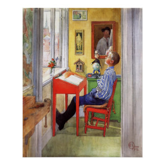 Esbjorn Doing His Homework by Carl Larsson Poster