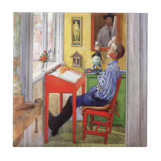 Esbjorn Doing His Homework by Carl Larsson Small Square Tile