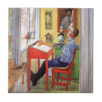 Esbjorn Doing His Homework by Carl Larsson Tile