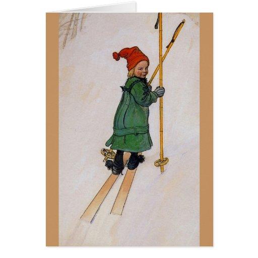 Esbjorn en los esquís 1905 tarjeta de felicitación