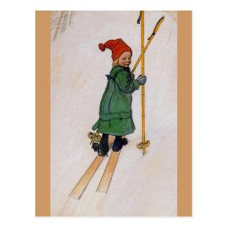 Esbjorn en los esquís 1905 tarjeta postal
