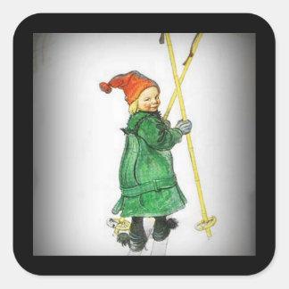 Esbjorn en los esquís - Auf Skiern de Esbjorn Pegatina Cuadrada