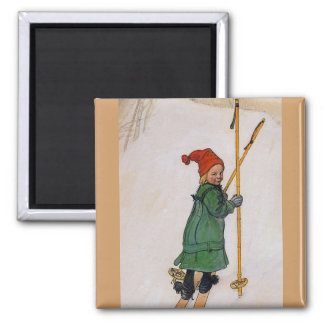 Esbjorn on Skis 1905 Fridge Magnets